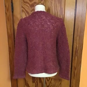 Vintage Sweaters - Vintage fluffy fuchsia warm unique cardigan